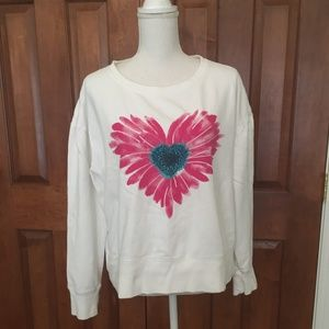 Life Is Good Women's Crew Daisy Heart ❤ Sweatshirt